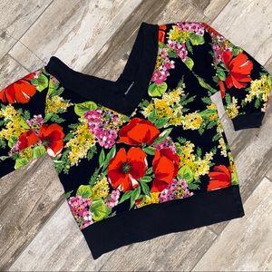 ✨Vintage✨ Floral Off Shoulder V-neck Sweatshirt